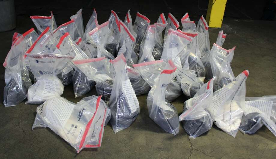 U.S. Customs and Border Protection officers seized approximately 579 pounds of meth with an estimated street value of over $11.5 million at the World Trade Bridge on Saturday. Photo: Courtesy