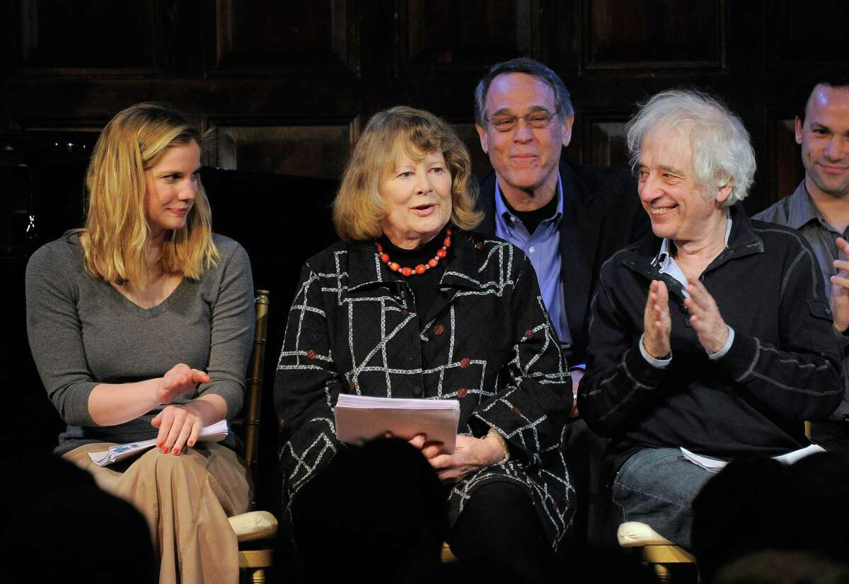 """NEW YORK, NY - FEBRUARY 21: (L-R) Anna Chlumsky, Shirley Knight and Austin Pendleton onstage during the all-star reading of """"Hamlet"""" at The Players Club on February 21, 2012 in New York City. Photo by Jemal Countess/Getty Images"""
