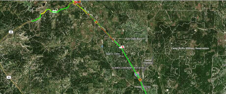 The eastbound lanes of Interstate 10 are closed near Camp Bullis on the far Northwest Side after a crash, according to the Texas Department of Transportation. The Map shows the approximate location of the incident. Photo: Texas Department Of Transportation