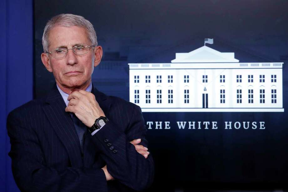 Dr. Anthony Fauci, director of the National Institute of Allergy and Infectious Diseases, appears at the White House, in Washington, April 1. Photo: Alex Brandon /Associated Press / Copyright 2020 The Associated Press. All rights reserved.
