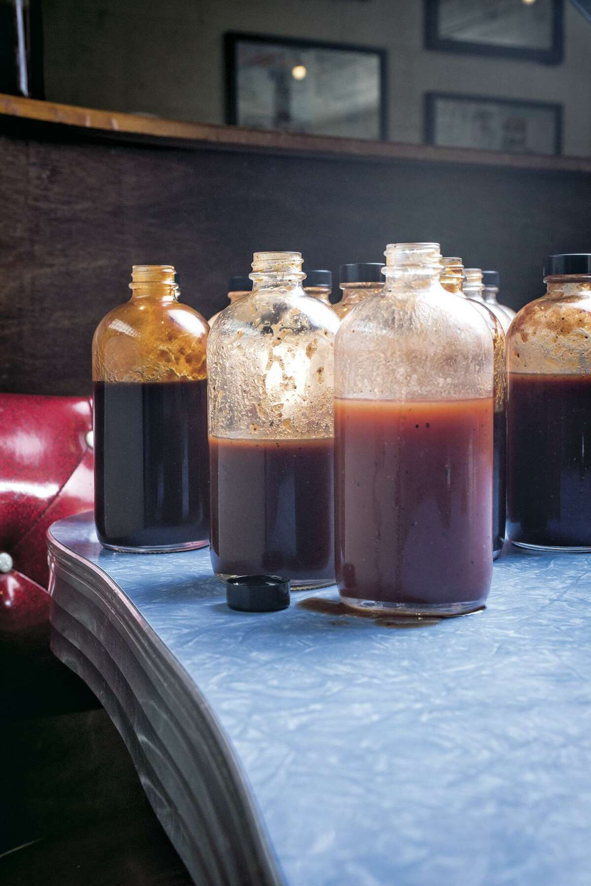 Barbecue sauces at Franklin Barbecue, Austin. From