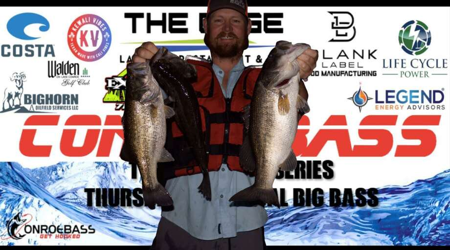 Evan Carlson (pic) and Tim Carlson won the CONROEBASS Tuesday night tournament with a stringer weight of 12.91 pounds. Photo: CONROEBASS