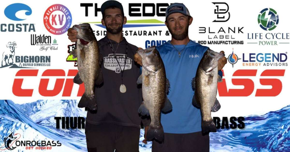 Colby Bryant and Wesley Baxley came in second place in the CONROEBASS Tuesday tournament with a stringer weight of 12.64 pounds.