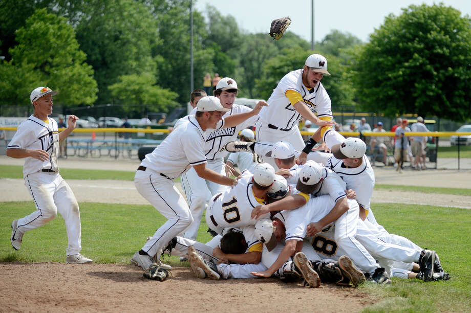 Bay City Western's baseball team celebrates the first state championship in program history on June 15, 2013 in Battle Creek. Photo: Daily News File Photo