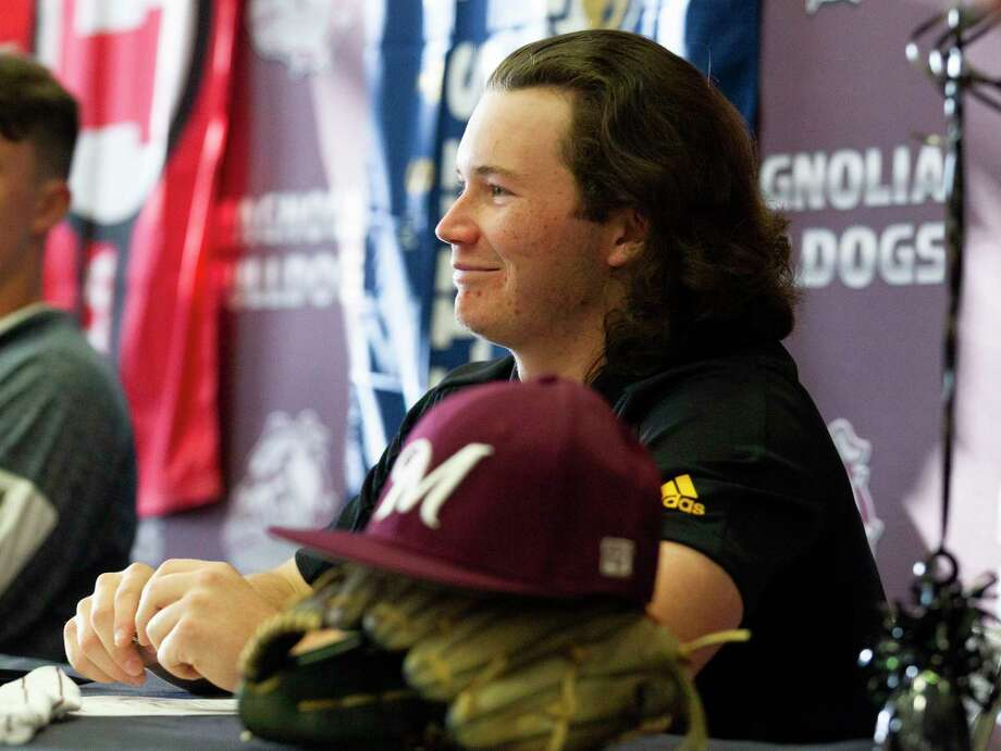 Magnolia's Caleb Clines smiles during a signing ceremony at Magnolia High School, Wednesday, Dec. 18, 2019, in Magnolia. Clines signed to play baseball for Grambling State. Photo: Jason Fochtman, Houston Chronicle / Staff Photographer / Houston Chronicle