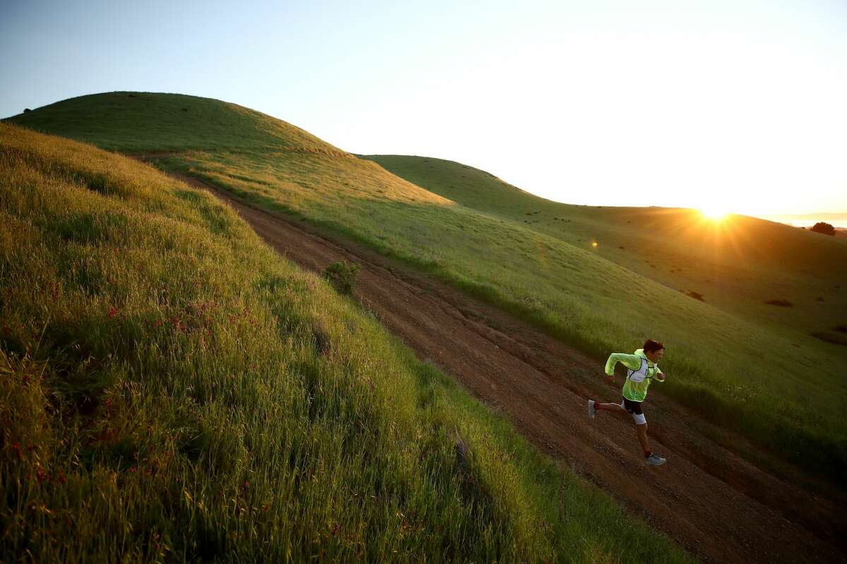 Ultramarathon runner Dean Karnazes does a training run on Bald Hill on April 24, 2020 in Ross, California. All of the races that Karnazes planned to compete in have been canceled or postponed because of the coronavirus (COVID-19). Karnazes has run marathons and endurance races all over the world, and has finished 50 marathons in 50 states in 50 consecutive days.