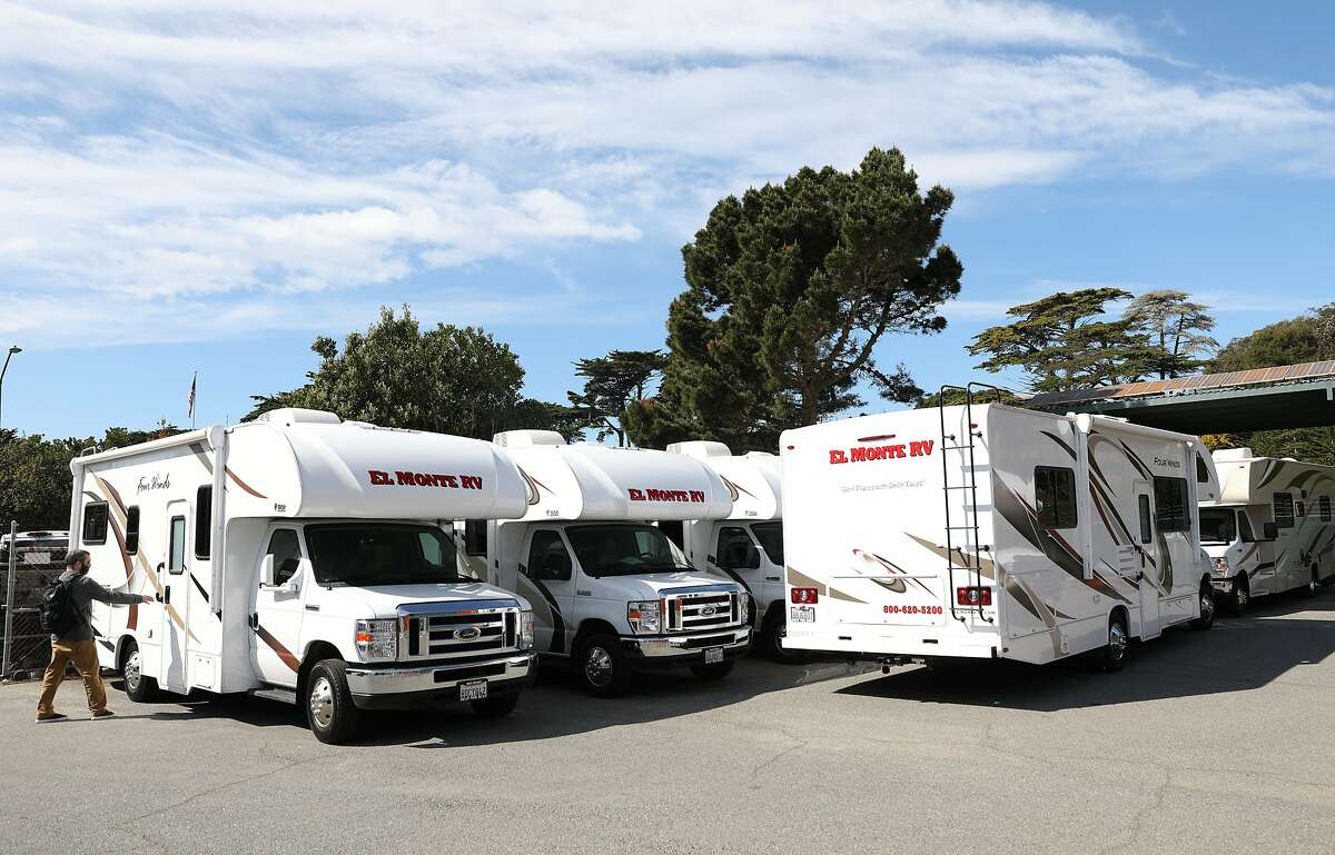 About 30 RVs are stored at the Presidio and will be offered to those diagnosed with COVID-19 if they have nowhere else to safely self-quarantine seen on Tuesday, March 10, 2020, in San Francisco, Calif.