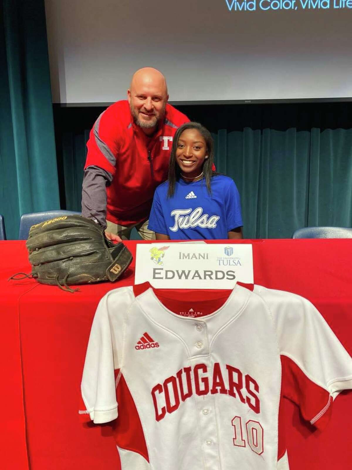 Tomball senior all-state shortstop Imani Edwards on signing day.