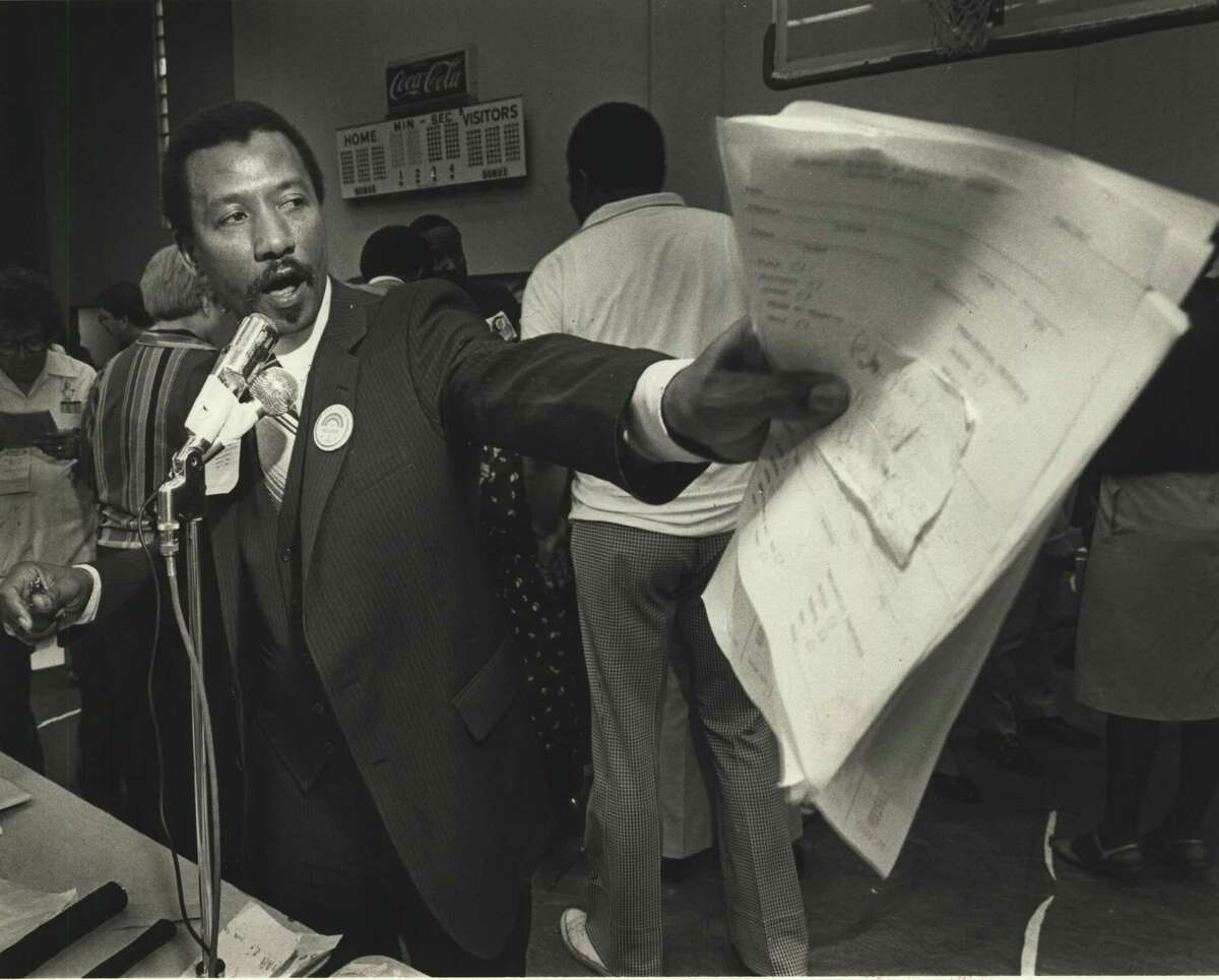 State Rep. Al Edwards of Houston, Texas chairman for civil rights activist Jesse L. Jackson's presidential campaign, makes a point at the Senate District 13 party convention where Jackson strongly led in the delegate count in 2004. Edwards died Wednesday.