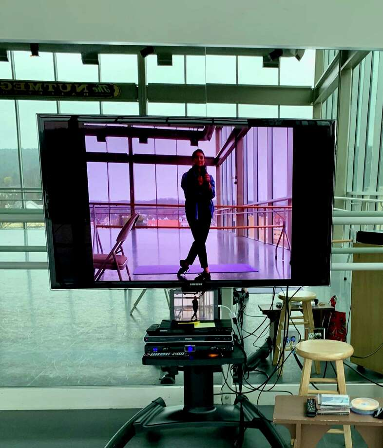 Artistic director Victoria Mazzarelli is shown on-screen on Zoom in the Premiere Studio at the Nutmeg Ballet Conservatory. Photo: Nutmeg Conservatory / Contributed Photo /