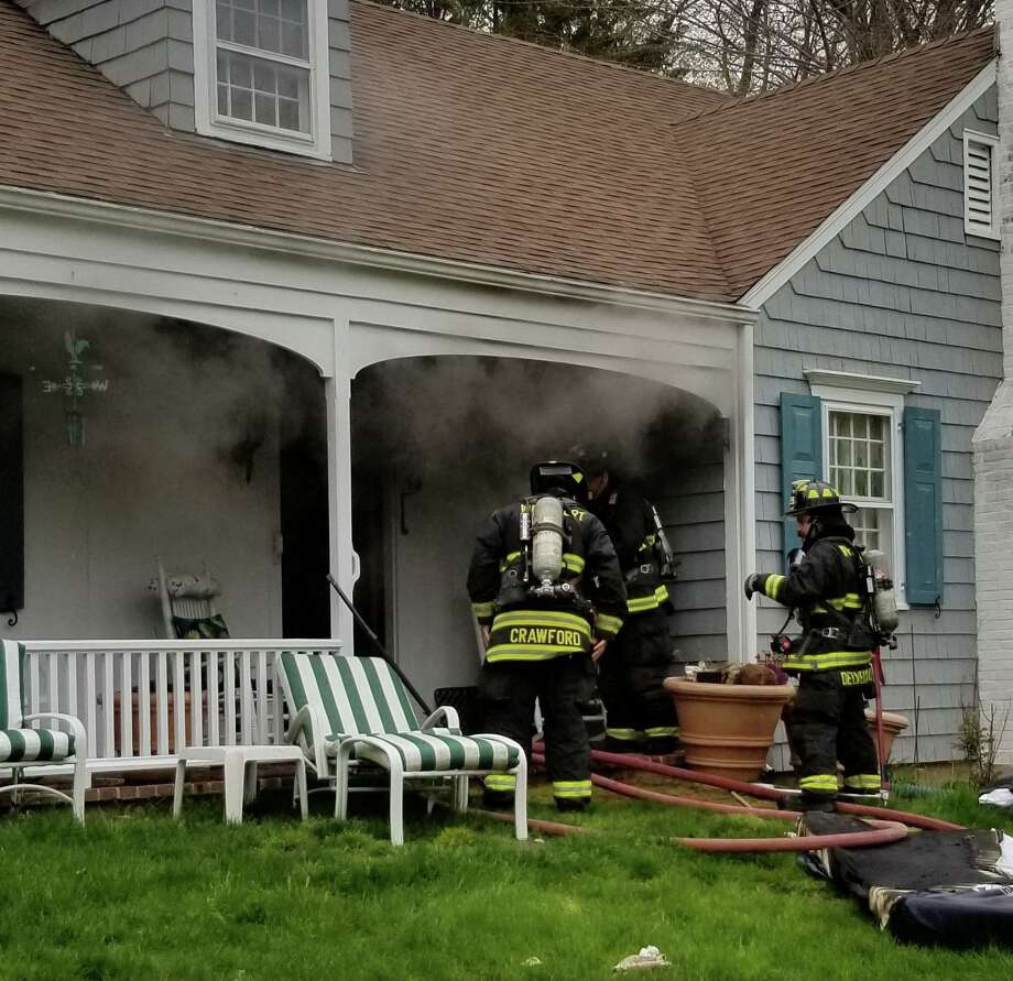 Crews on scene for a fire on Marilane in Westport, Conn., on Wednesday, April 29, 2020. Photo: Contributed Photo / Westport Fire Department
