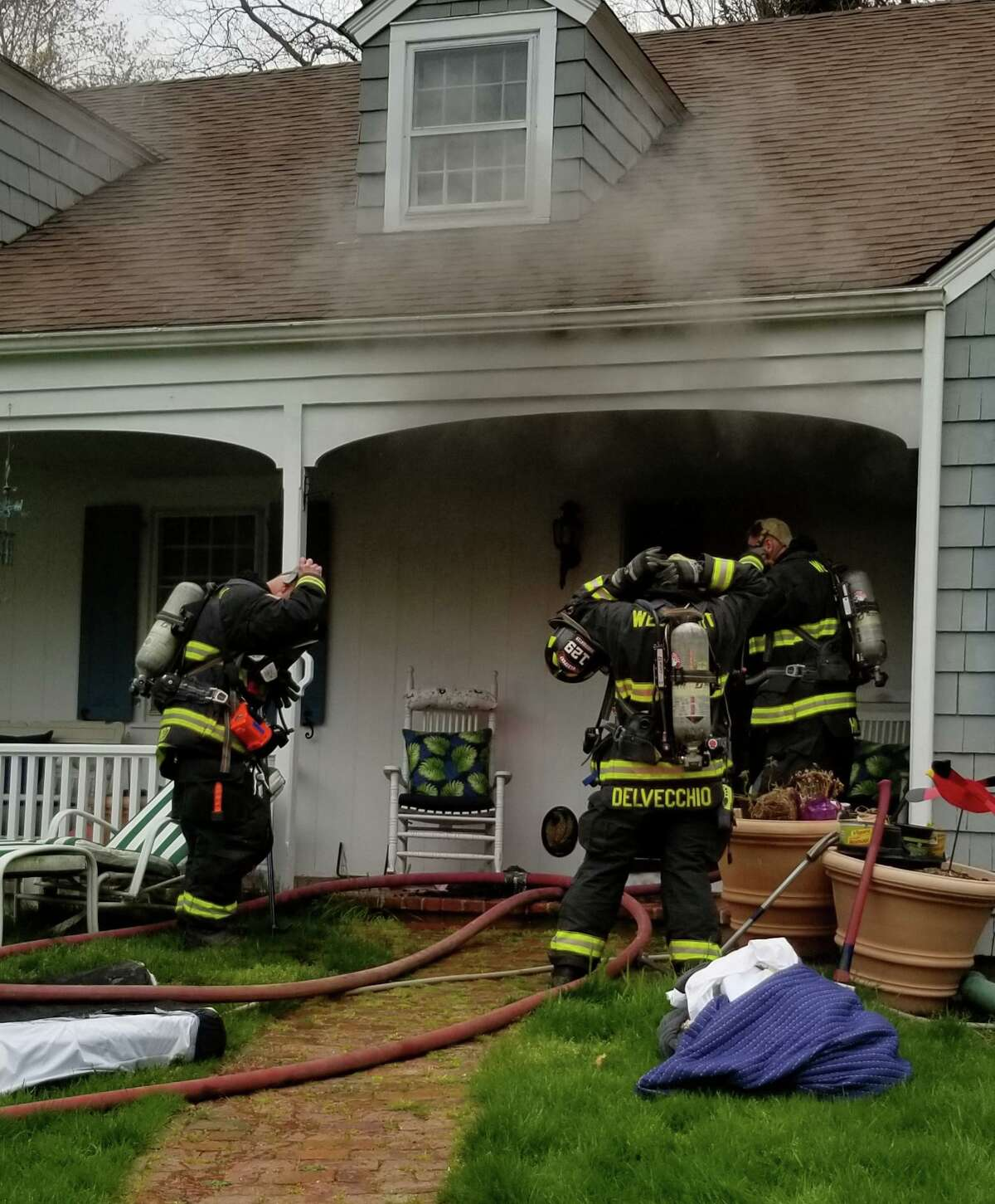 Crews on scene for a fire on Marilane in Westport, Conn., on Wednesday, April 29, 2020.