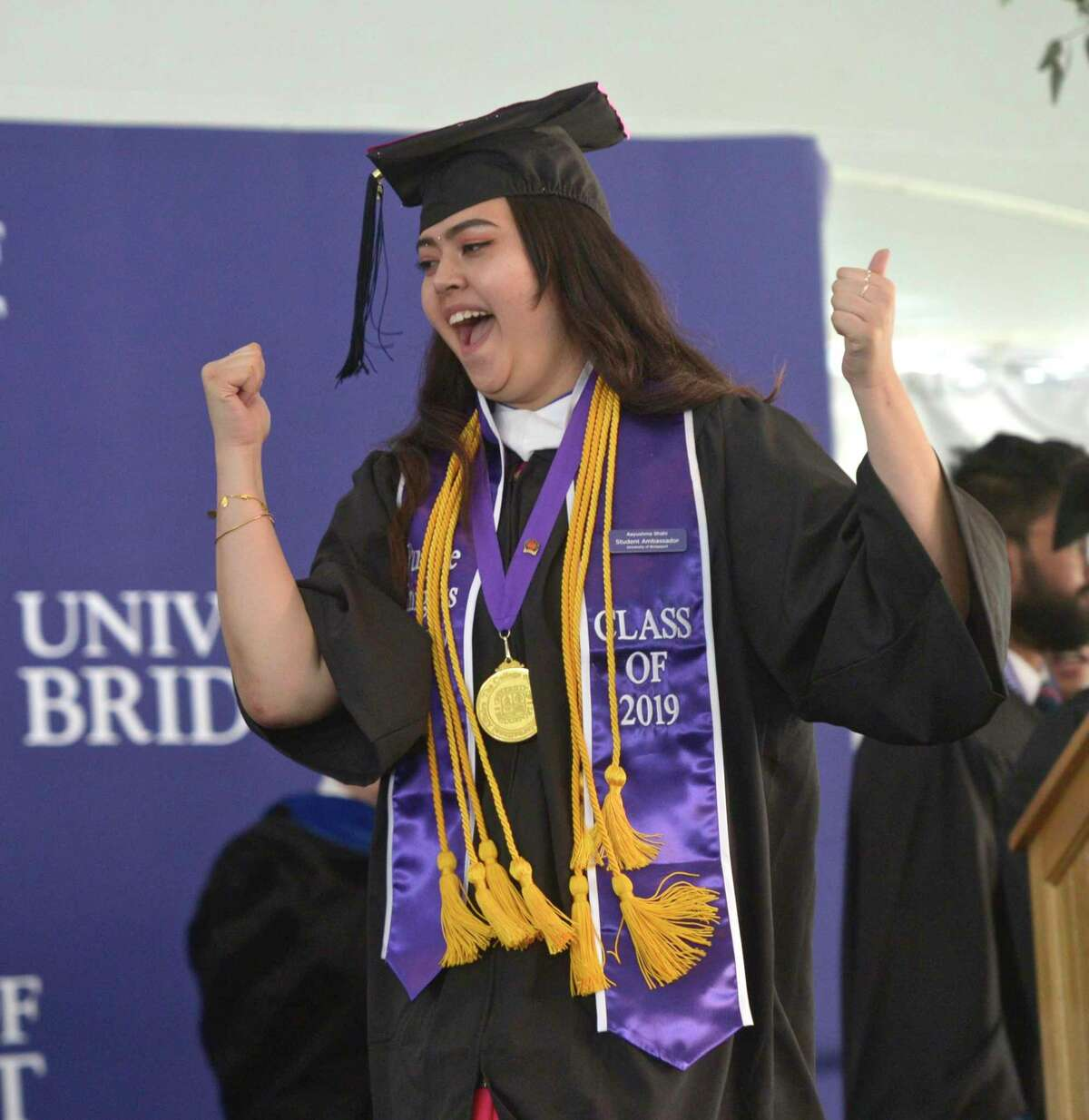 Photographs from the University of Bridgeport 2019 Undergraduate Commencement Ceremony in Marina Park, Bridgeport, Conn, Saturday morning, May 18, 2019.