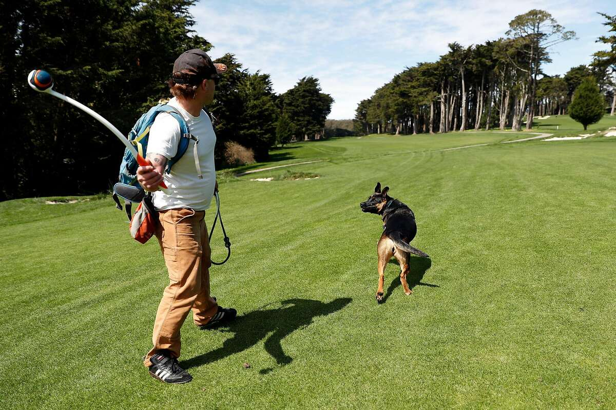 Joe Corrick readies to toss a ball to his dog, Luna, in a fairway at Presidio Golf Course in San Francisco, Calif., on Monday, March 30, 2020. The course is closed to golfers.