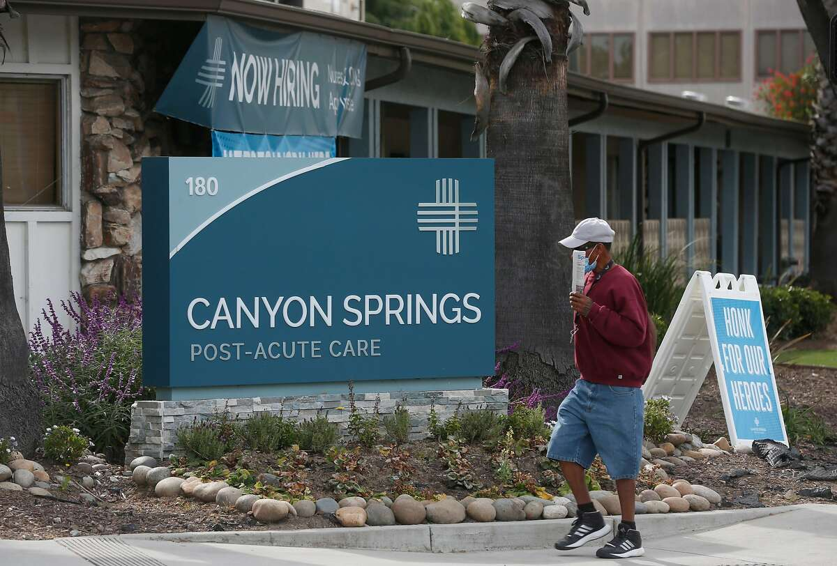 The Canyon Springs Post-Acute Care center is seen in San Jose, Calif. on Wednesday, April 29, 2020. Santa Clara County officials have determined that asymptomatic employees unknowingly passed on the COVID-19 coronavirus to residents and other workers at the facility.