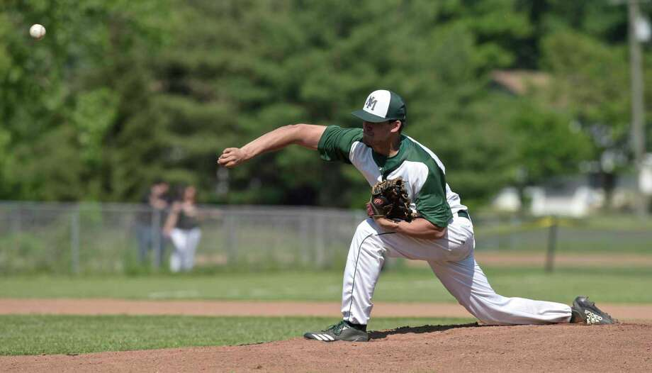 Connecticut Class LL baseball game between Greenwich and New Milford high schools. Tuesday afternoon, March 29, 2018, at New Milford High School, New Milford, Conn. Photo: H John Voorhees III / Hearst Connecticut Media / The News-Times
