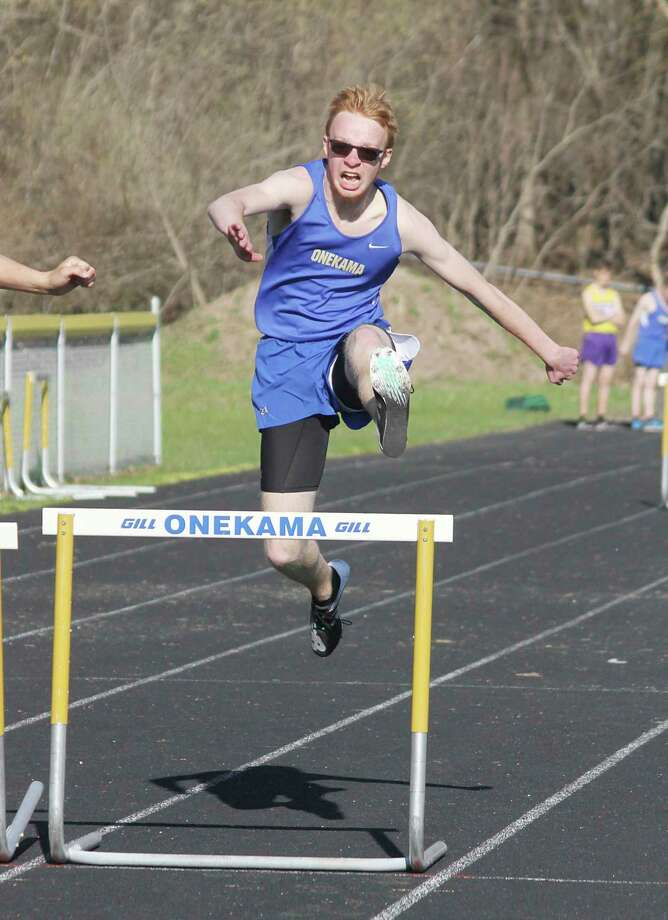 Hunter Bentley leaps a hurdle for the Onekama track team last spring. (News Advocate file photo)