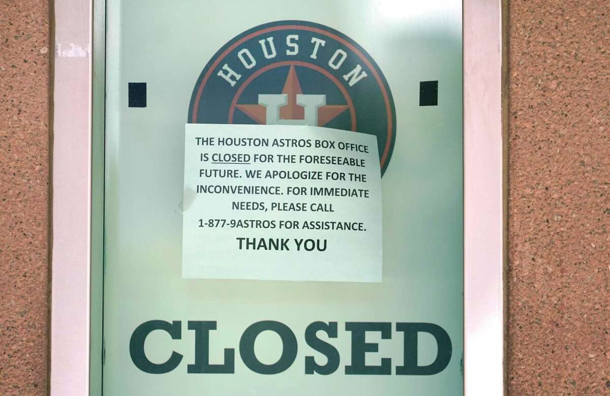A closed Houston Astros ticket window at Minute Maid Park is shown Wednesday, April 29, 2020, in Houston. Major League Baseball delayed the start of the season amid the Covid-19 pandemic.