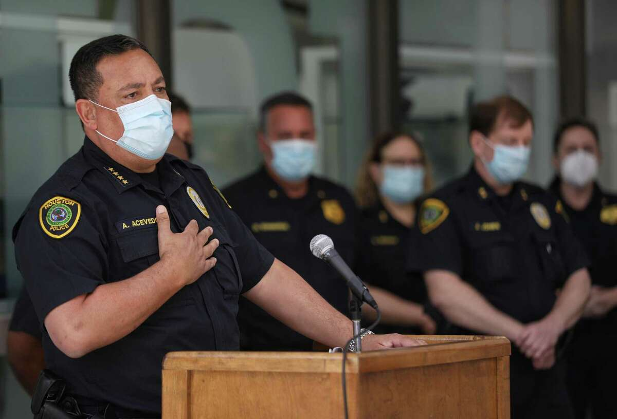 Houston Police Chief Art Acevedo speaks to reporters about a recent officer-involved shooting Wednesday, April 29, at HPD headquarters in Houston.