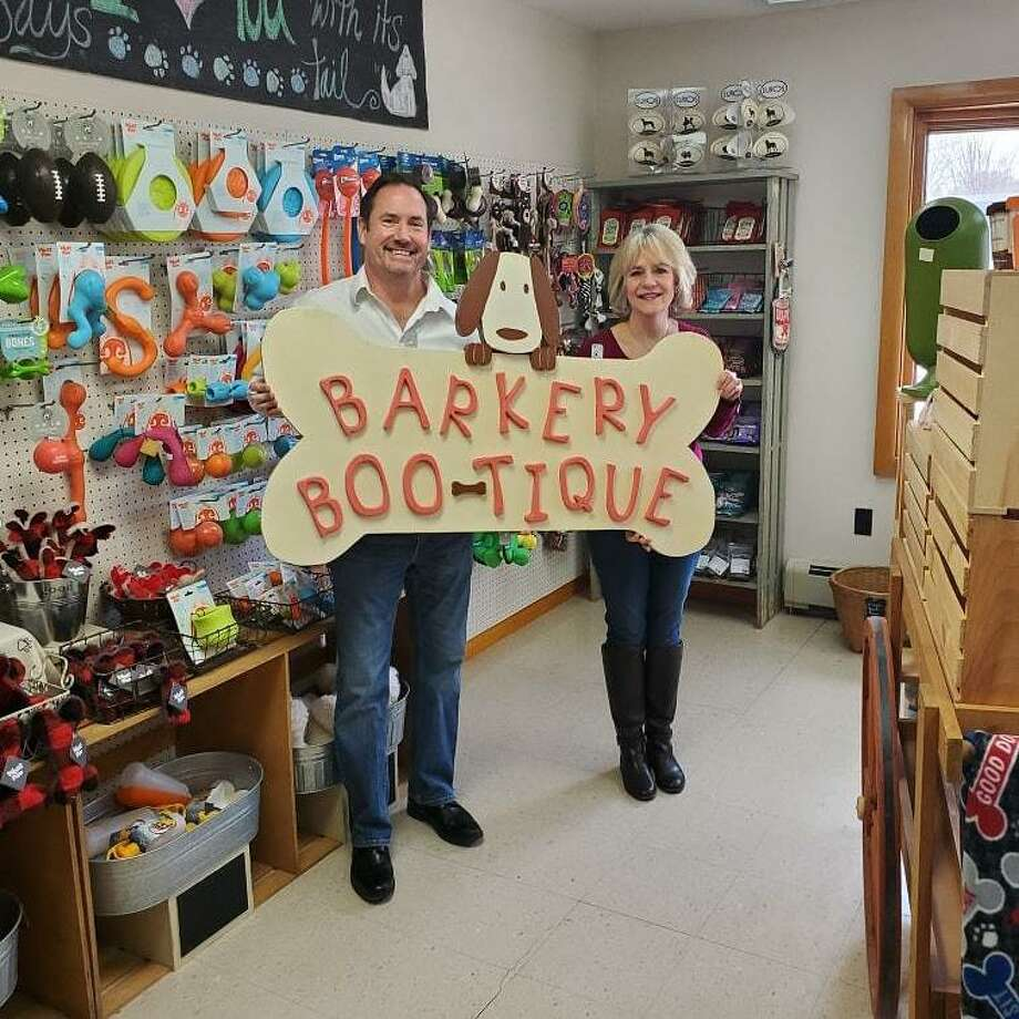 Alison and Bill Farrell are the new owners of the Barkery Boo'tique on Route 202 in New Milford. They purchased the business in February from the original owner Debbie Bauman. Photo: Courtesy Of Barkery Boo'tique / Danbury News Times
