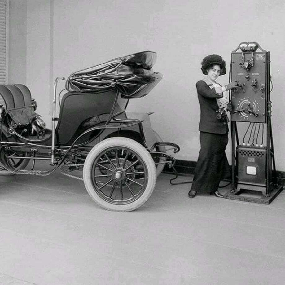 A 1912 electric car charging station Photo: Courtesy Of John Cilio