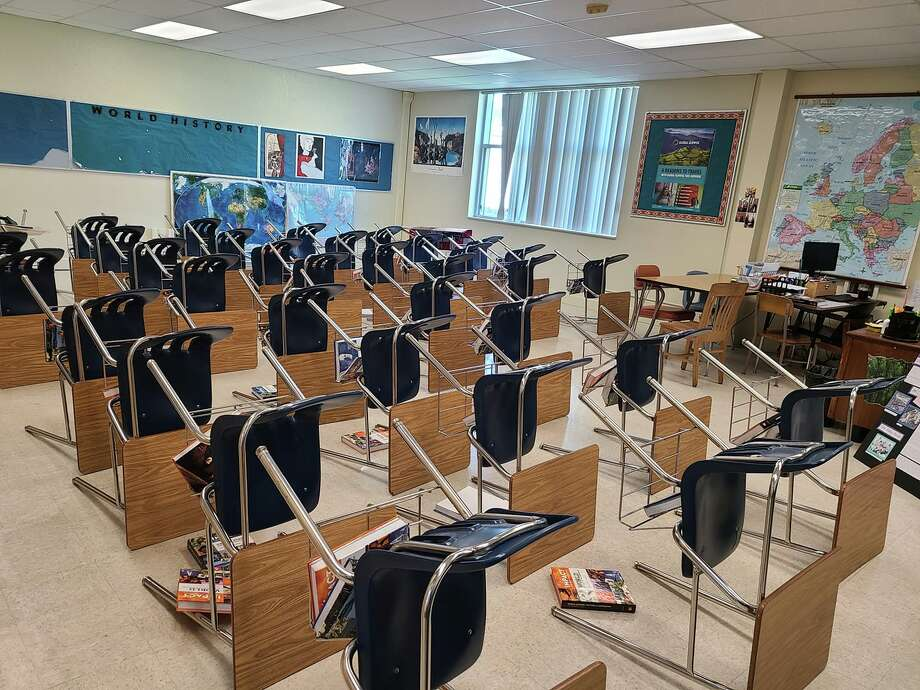 History teacher Kimberly Chin photographed her South San Francisco classroom that had been recently disinfected to combat the COVID-19 coronavirus. Photo: Courtesy Kimberly Chin