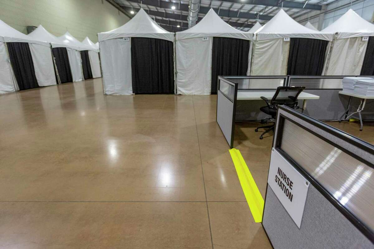 The alternate care facility that has been built inside the Expo Hall on the grounds of the AT&T Center and Freeman Coliseum is seen Wednesday,. The facility, which currently has 80 beds but could expand, was built to provide extra bed space for people with medical needs if area hospitals were overwhelmed with COVID-19 patients. But it hasn't been needed.