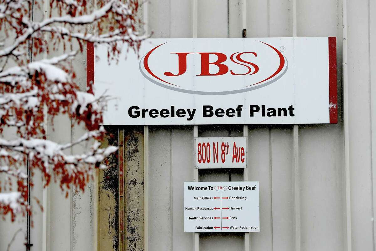 The Greeley JBS meat-packing plant sits idle on April 16 in Greeley, Colorado. The meat packing facility voluntarily closed in order to test employees for the coronavirus.