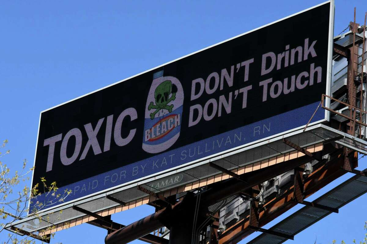 Kat Sullivan, an advocate for sexual abuse victims and registered nurse, has purchased billboard space along I-787 in Albany, N.Y., after President Trump recently suggested that household disinfectants could possibly cure someone of COVID-19.