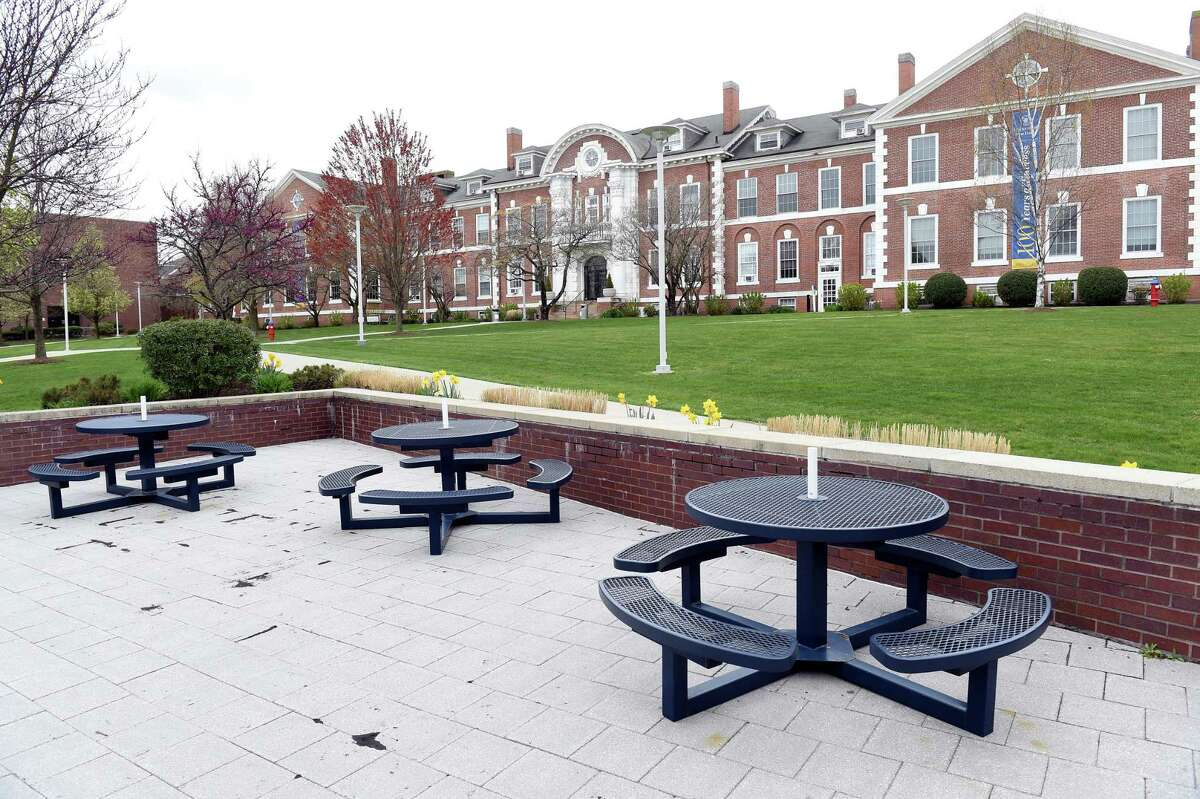 Outdoor seating in front of Bartels Hall Campus Center remain empty at a deserted University of New Haven campus in West Haven on April 27, 2020. University of New Haven, West Haven Rank: 66 out of 1,305 All parent loan recipients: $57,138 Low-income parent loan recipients: $32,814 Source: WSJ