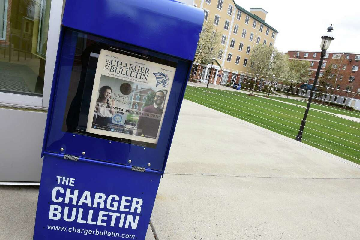 A Charger Bulletin honor box retains the Feb. 17, 2020, issue at a deserted University of New Haven campus in West Haven on April 27.