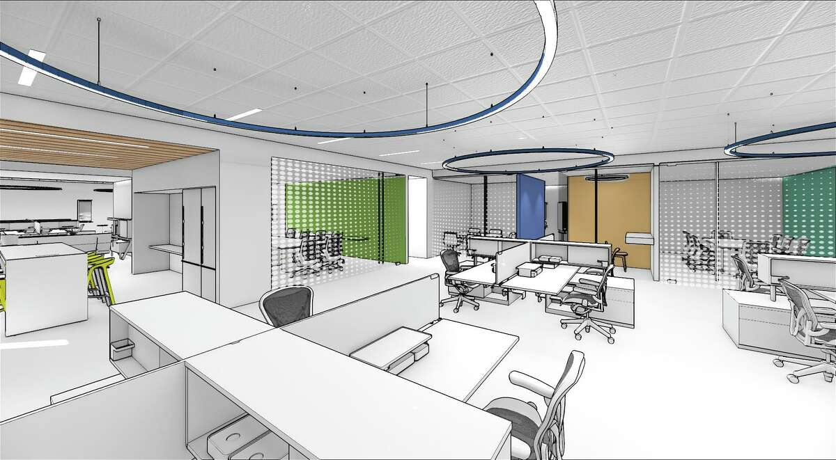 Architectural firm Perkins Eastman is moving ahead with new office designs, which prominently feature spacious shared work spaces. This rendering shows part of an office in Athens, Ga., that Perkins Eastman has designed for a pharmaceutical firm.