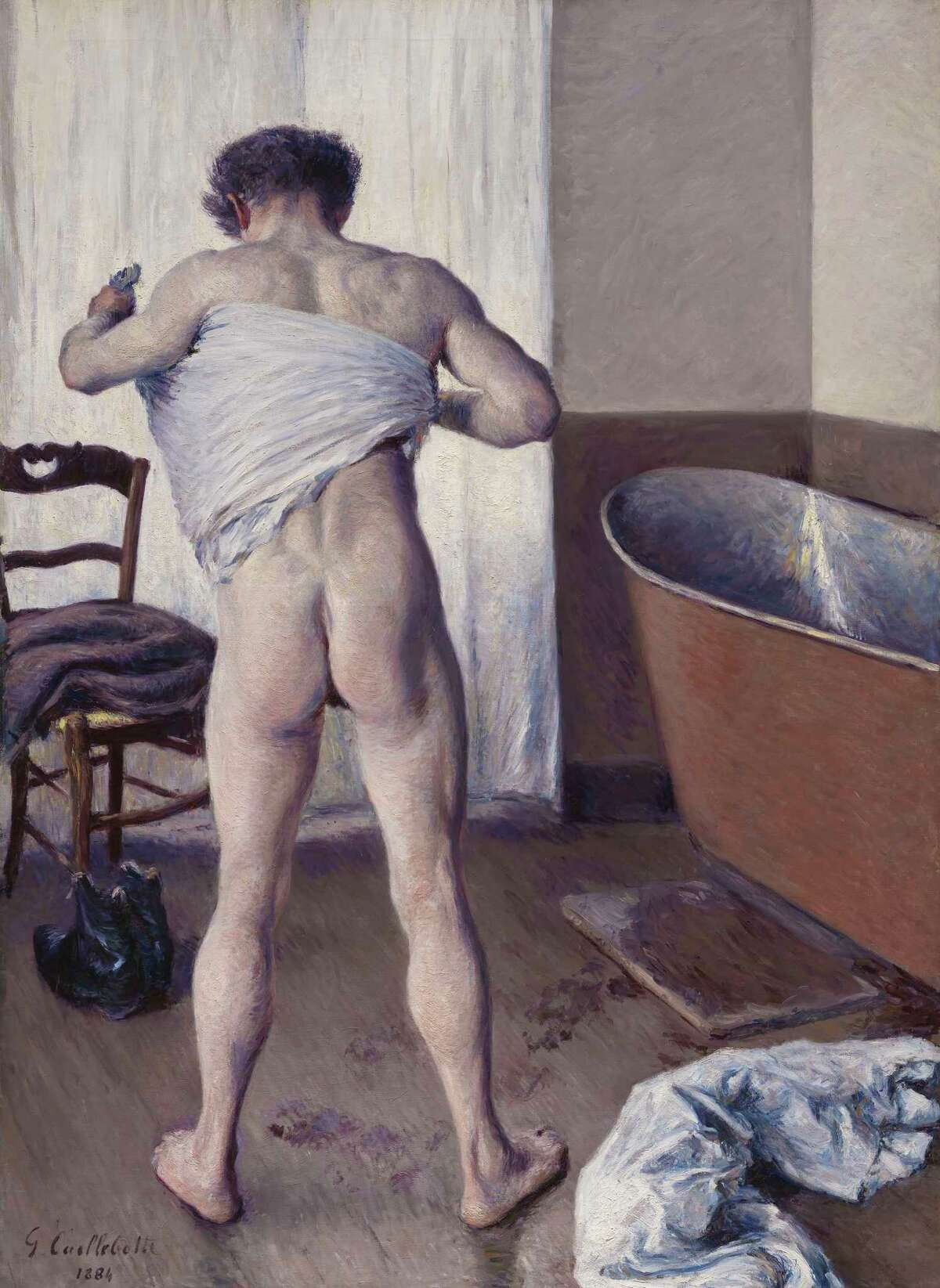 """The Museum of Fine Arts in Boston sold eight works to buy """"Man at His Bath"""" (1884), by Gustave Caillebotte."""