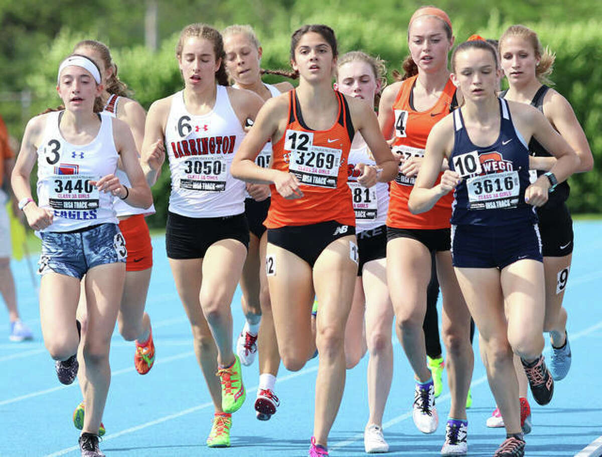 Edwardsville's Abby Korak in action in the 1,600-meter run at the Class 3A state meet in Charleston.