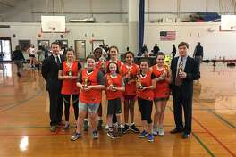 West Conn completed an undefeated season last month with a 25-4 victory over Boston College in the Ridgefield Basketball Association's 6th-8th grade girls division championship game. Maddie Pickett, Jessica Nightingale and Claire Burns scored six points apiece for West Conn, with Mika Bernard adding four points and Isabelle Anandappa contributing three points. Caroline Baker, Kyela McGuire and Lily Bevington, provided tough defense for West Conn, which ended the season with a 12-0 record. Shown (left to right) are: Assistant coach Darrin McGuire, Maddie Pickett, Jessica Nightingale, Mikaella Bernard, Claire Burns, Lily Bevington, Isabelle Anandappa, Caroline Baker, Kyela McGuire, and Coach John Burns.