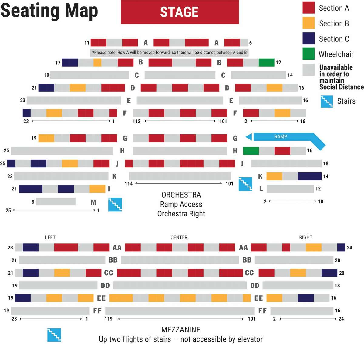 The new seating chart for Barrington Stage's Boyd-Quinson Mainstage in Pittsfield, Mass. Every other row of seats is being removed, and parties of two or three will be separated from other patrons by at least two seats.