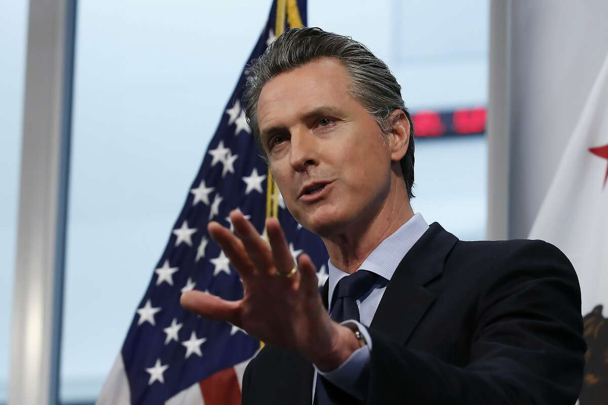 California Gov. Gavin Newsom announced California saw its first daily decrease in intensive care hospitalizations during the coronavirus outbreak, during his daily news briefing at the Governor's Office of Emergency Services in Rancho Cordova, Calif. Thursday, April 9, 2020.