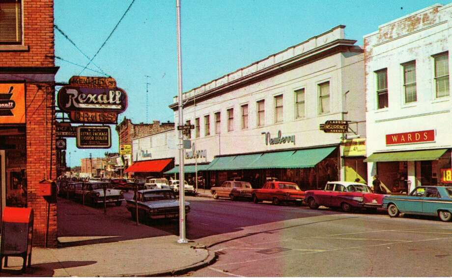 This picture shows what the River Street area in Manistee looked like during the 1960s.