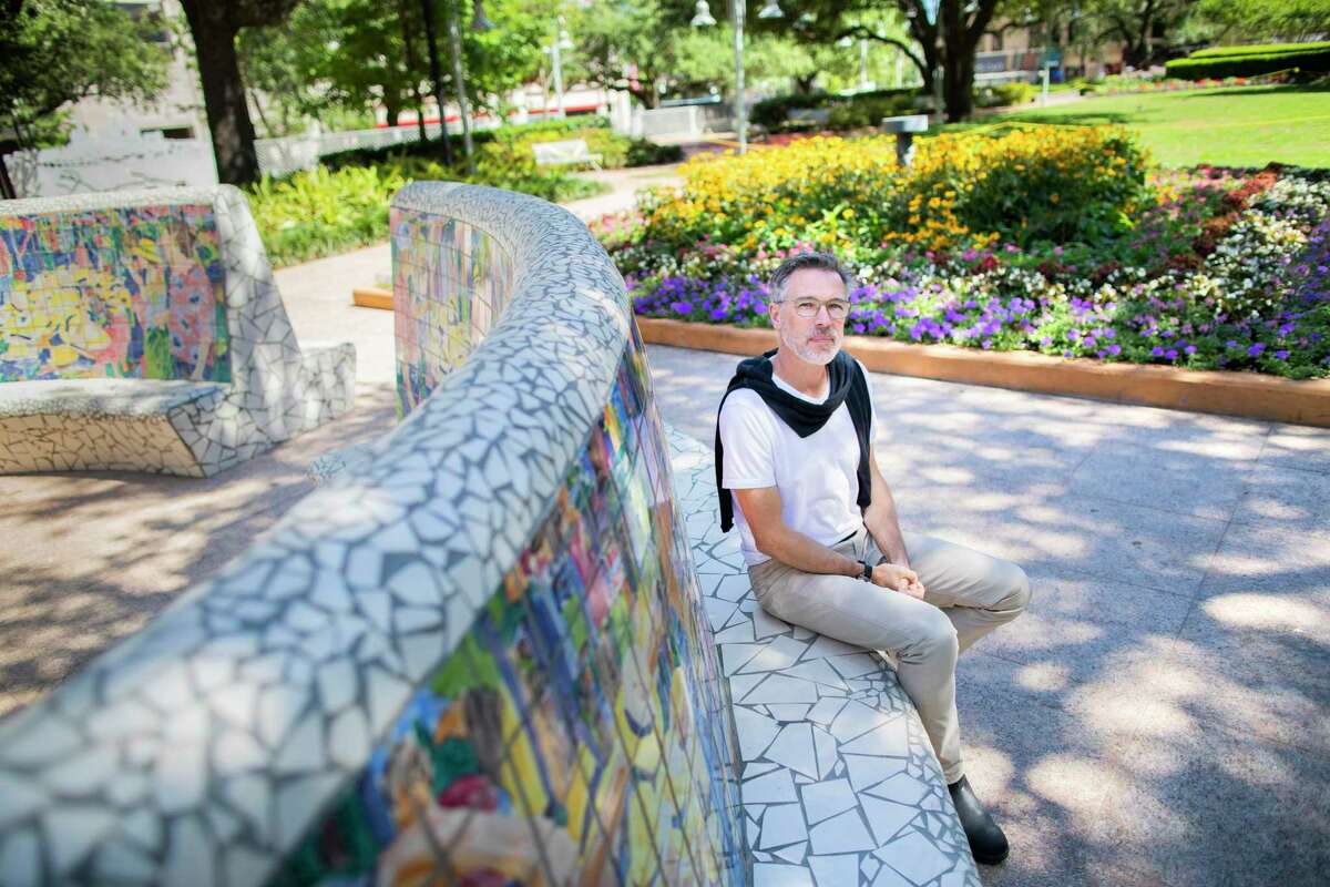 SWA Group managing principal Kinder Baumgardner at Market Square Park in downtown Houston on April 30, 2020. Baumgardner said one consequence of COVID-19 and isolation could be a