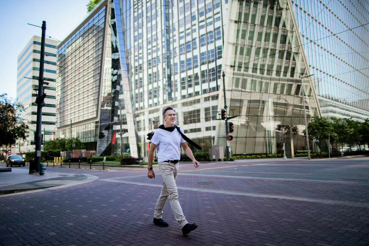 SWA Group managing principal Kinder Baumgardner walks in downtown Houston on April 30, 2020.