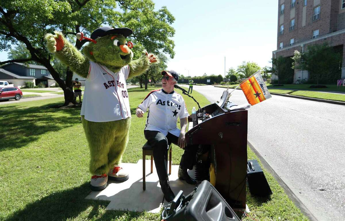 Orbit joined Jim Connors as he performed his 7th Inning Stretch Show from the esplanade on North Braeswood Boulevard.