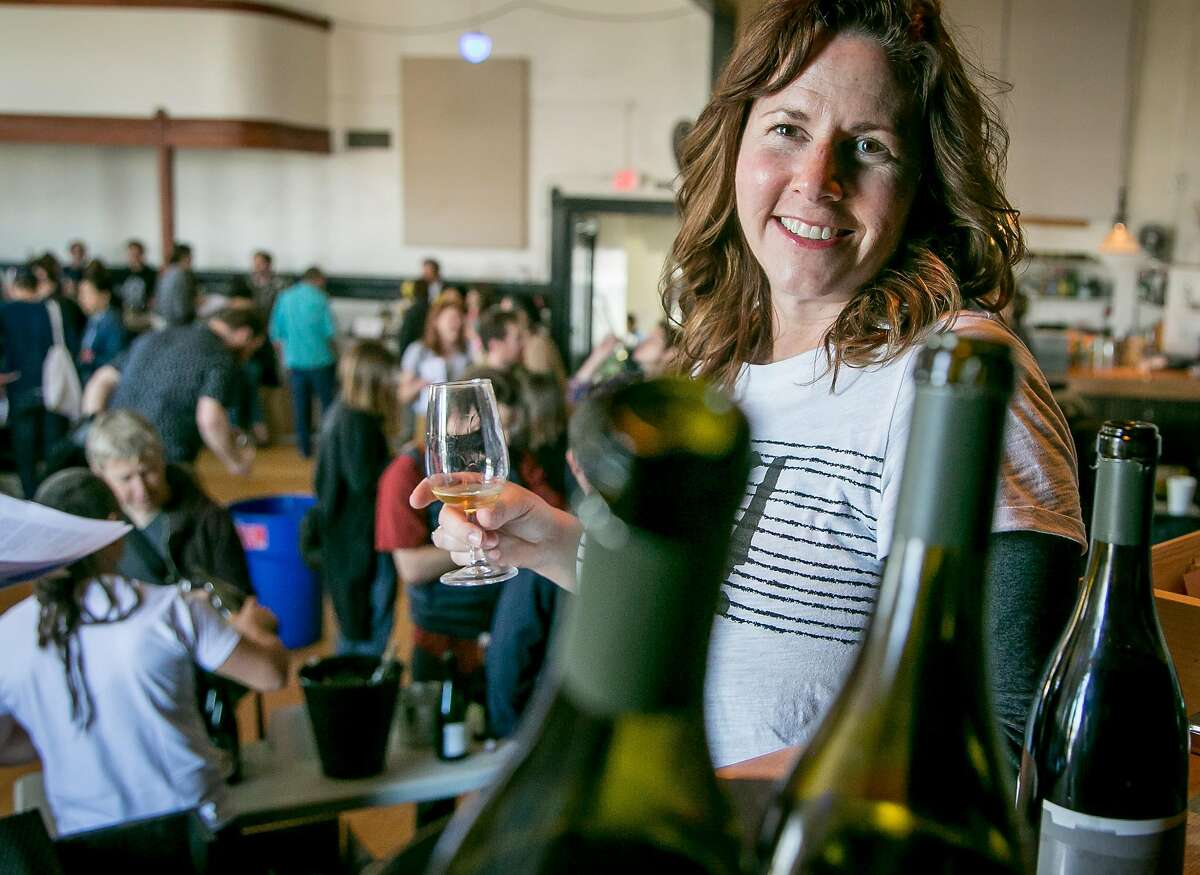 Tracey Brandt of Donkey & Goat at a natural wine tasting in the Starline Social Club in Oakland, Calif. on March 11th, 2018.