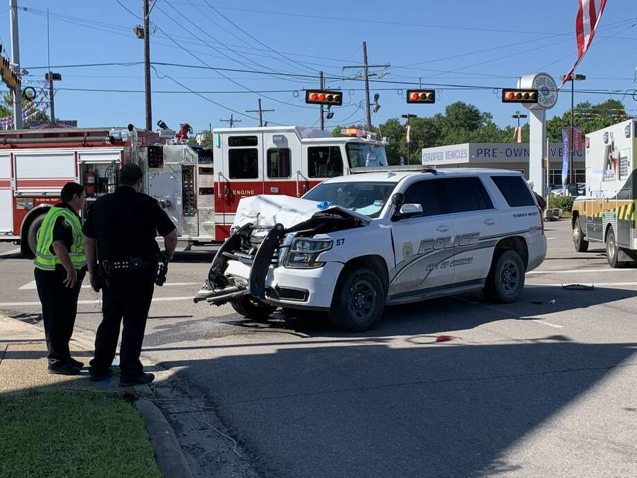 The Texas Department of Public Safety is investigating a four-car wreck involving an Orange Police Department officer Thursday, April 30, 2020. Photos provided by Eric Williams Photo: Provided By Eric Williams
