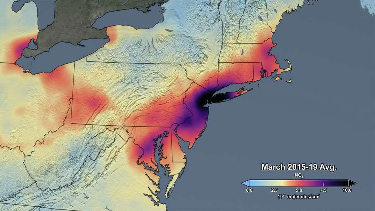 The image shows the average concentrations of atmospheric nitrogen dioxide in March of 2015-19 as measured by the Ozone Monitoring Instrument on NASA's Aura satellite, as processed by a team at NASA's Goddard Space Flight Center in Greenbelt, Maryland.