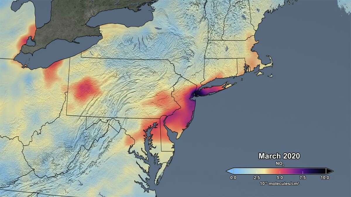 The image shows the average concentrations of atmospheric nitrogen dioxide in March 2020 as measured by the Ozone Monitoring Instrument on NASA's Aura satellite, as processed by a team at NASA's Goddard Space Flight Center in Greenbelt, Maryland.
