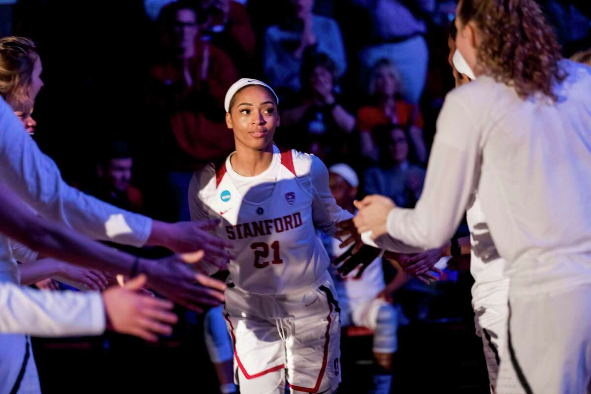 STANFORD, CA - MARCH 25: Stanford Cardinal guard DiJonai Carrington (21) is introduced before the NCAA Second Round Womens Basketball game between the Stanford Cardinal and BYU Cougars on March 25, 2019 at Maples Pavilion in Palo Alto, CA. (Photo by Bob Kupbens/Icon Sportswire via Getty Images)