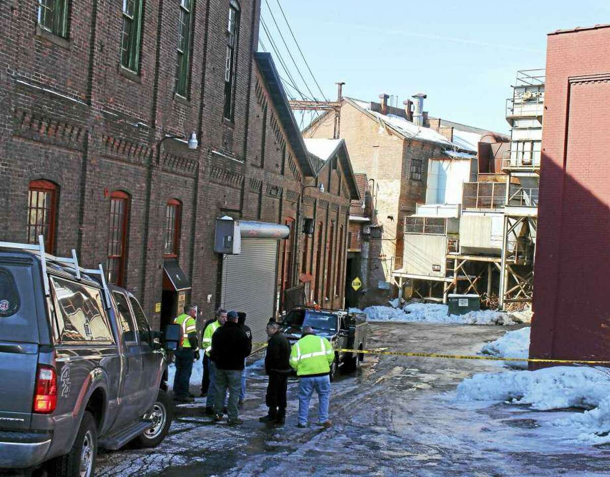 The scene following a partial roof collapse at the the former SHW Casting Co. building in Ansonia in 2017.