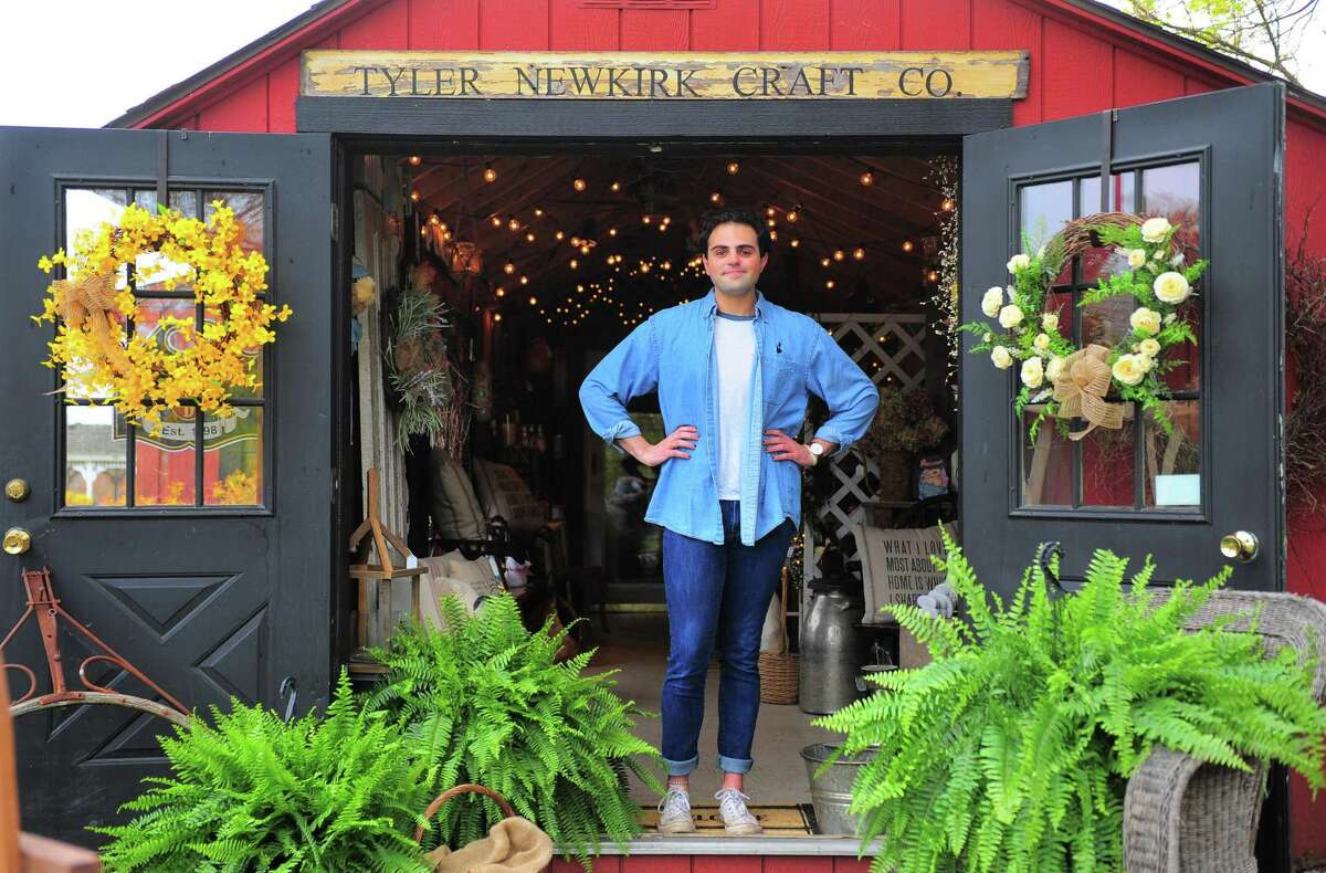 Tyler Newkirk poses at his gift shop at B&B Farm in West Haven April 29, 2020.