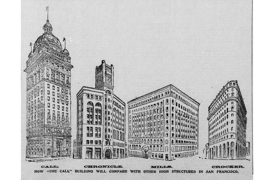 An 1895 San Francisco Call infographic comparing its soon-to-open skyscraper to the size of three of San Francisco's tallest buildings. It was, of course, much larger. Photo: San Francisco Call