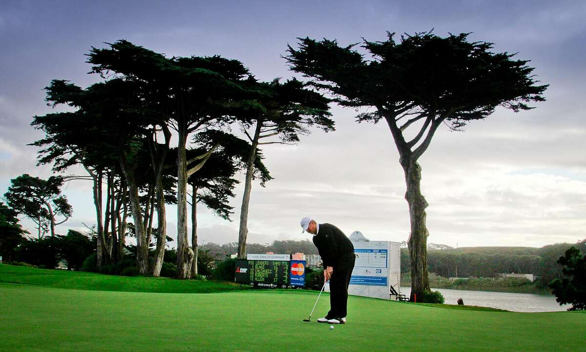 Jay Don Blake makes a boogie at the 17th hole at the Schwab Cup Championship final round at Harding Park Golf Course in San Francisco, Calif., on Sunday, November 6, 2011.